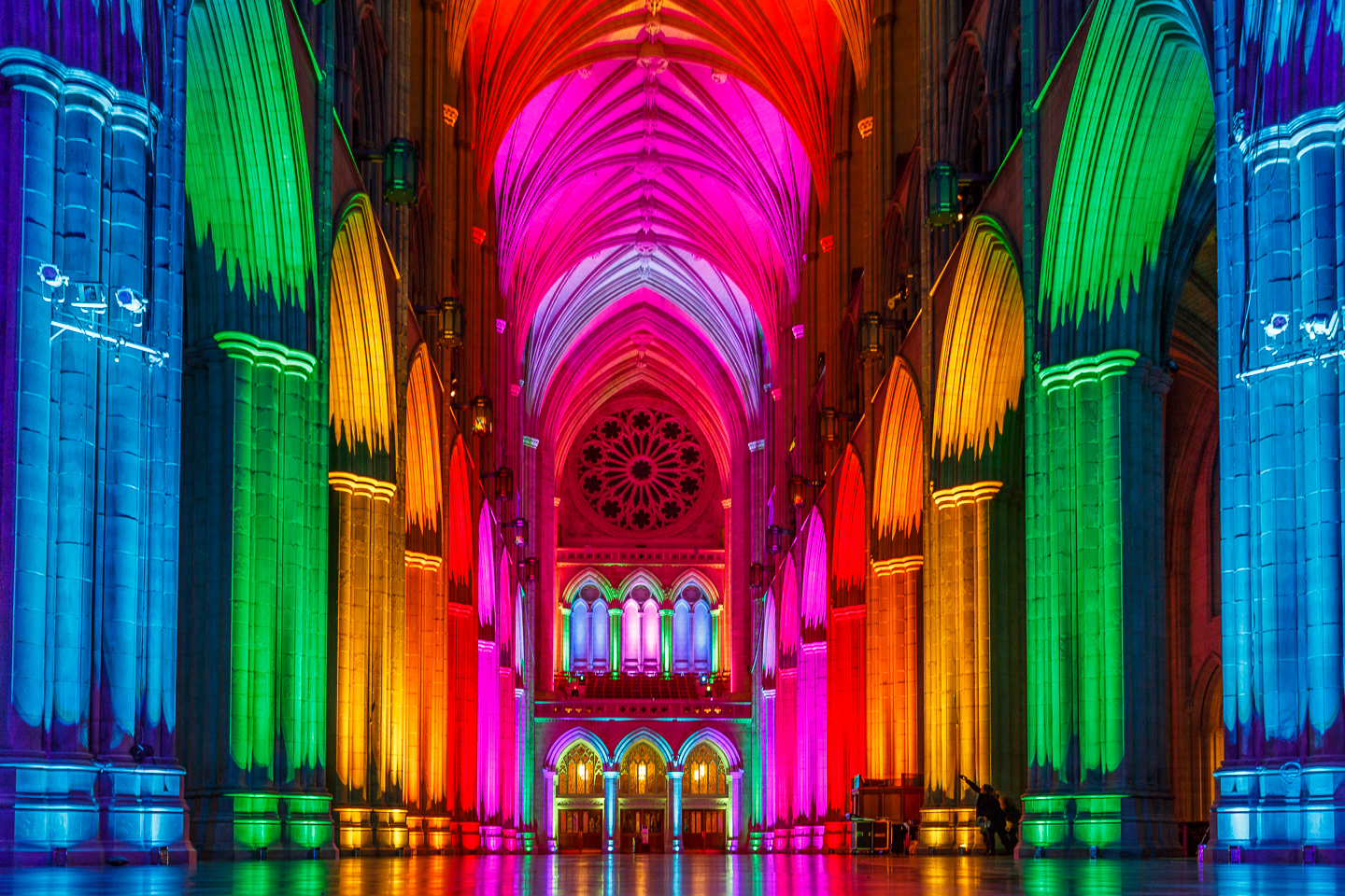 lighting, cathedral. Washington, DC, special event, lights and silence,