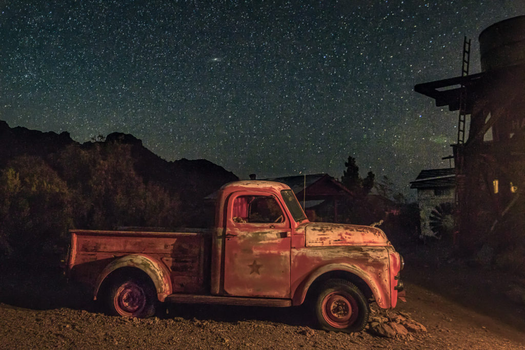 Rusty old truck light painted in Nelson Nevada